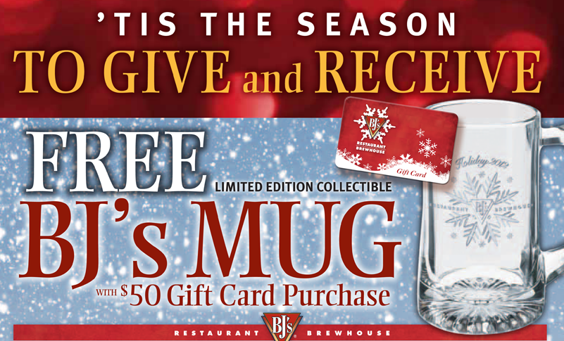 bj s restaurant gift card bj s brewhouse free collector s mugs rewards with gift 2891