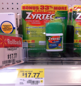 image relating to Zyrtec Coupon Printable named Walmart: Reward Sizing Zyrtec simply $13.77 with Higher Expense