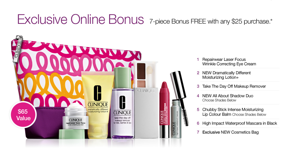 FREE $65 Clinique Bonus with a $25+ Purchase!!  - Wheel N Deal Mama