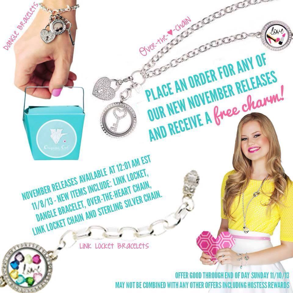 Origami owl free charm and dangle with any november release bracelets at origami jeuxipadfo Gallery