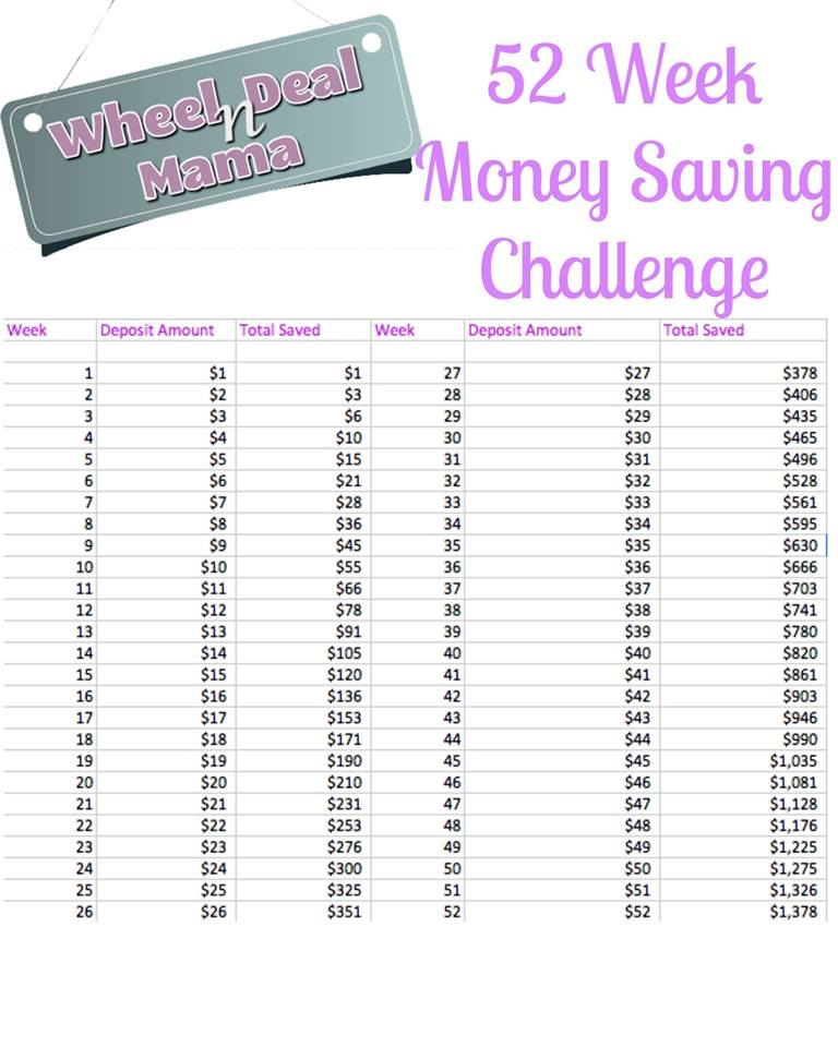 52 Week Money Saving Challenge Save 1378 With This Plan