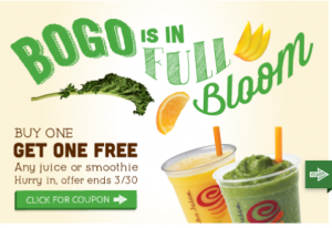 Jamba Juice: Buy One, Get One FREE!! Through March 30