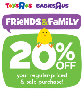 RARE Coupon: 20% off Your Entire Toys R Us Purchase!!