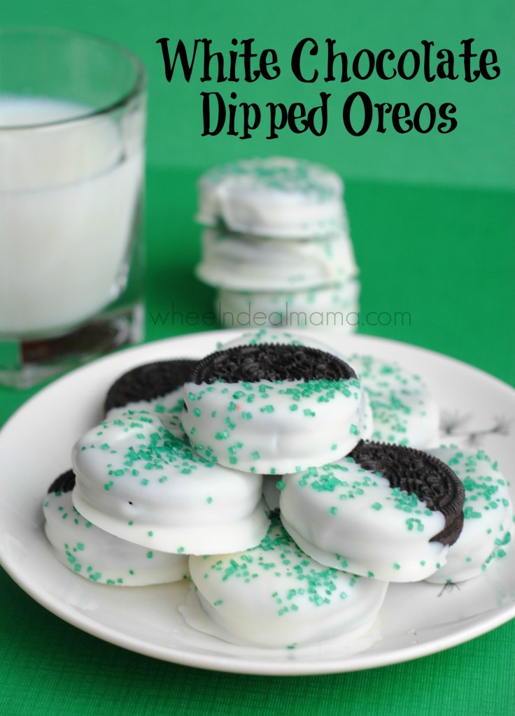 White Chocolate Dipped Oreos with Sprinkles! - Wheel N Deal Mama
