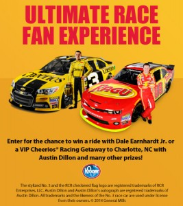 Enter to win the ride of your life with Dale Earnhardt, Jr. or a VIP Cheerios® racing getaway with Austin Dillon + One Reader will win a $50 Kroger Gift Card!