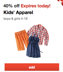 Target: 40% off Kid's Clothes!! Today only! PLUS $5 off $25!