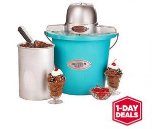 Nostalgia Electrics 4-Quart Blue Bucket Electric Ice Cream Maker just $15! Reg. $40