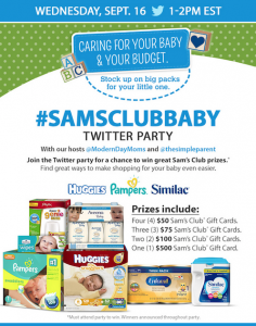 #SamsClubBaby Twitter Party! Get all the Baby Supplies you need at Sams Club; You Could win up to $500 at the Party!