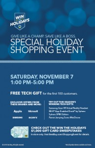 Best Buy Shopping Event!! FREE Tech Gift for first 100 People! 11/7, 1pm to 5pm