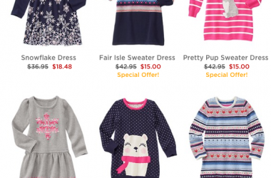 Gymboree: 50% off everything Sitewide! FREE shipping! $40+ Sweater Dresses just $15!! And more!