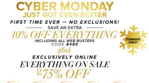 New York & Company: Cyber Monday just got Even BETTER!!! Up to 75% off + Extra 10% off EVERYTHING!!! Puffer Vests just $13.50 (Reg. $44), Scarf + Glove sets just $4.50 + More!