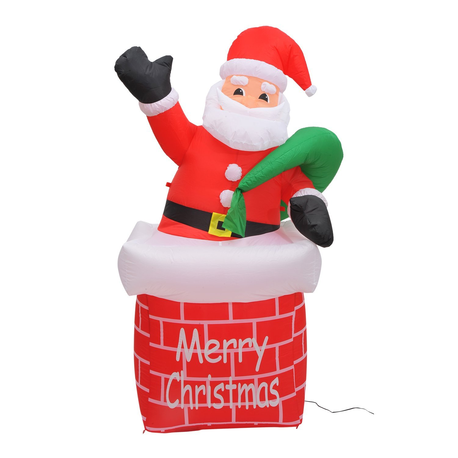 Foot inflatable santa claus chimney yard decoration only
