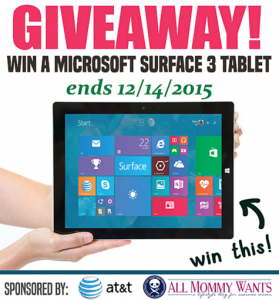 Enter to win a Microsoft Surface 3!!!