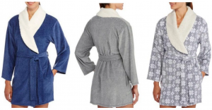 Women's Shawl Collar Sherpa Lined Stretch Fleece Robes just $5.50!!! Reg. $18