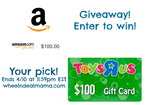Spring Giveaway! Enter to win $100 to Amazon or Toys R Us! Your Pick!