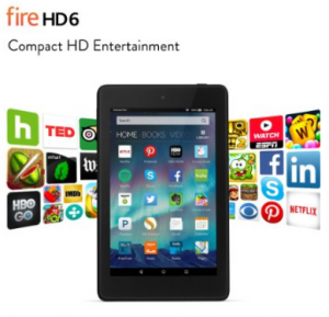 Fire HD 6 Tablet, 6″ HD Display, Wi-Fi, 8 GB – Includes Special Offers, Black just $$69.99 (reg. $99.99)!!!