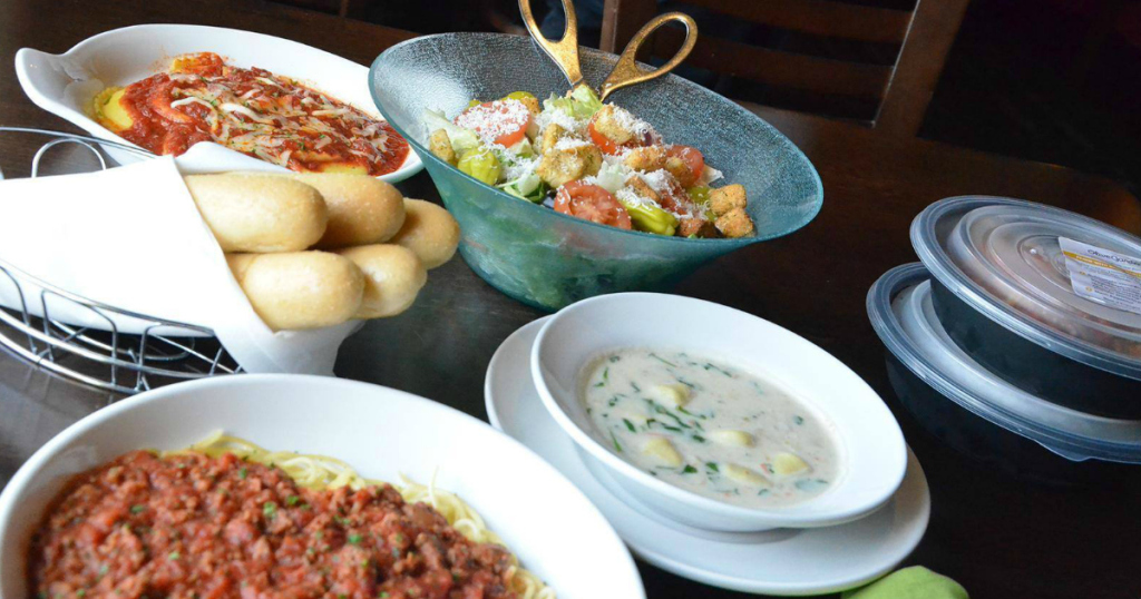 Olive garden two select pasta entrees and one salad or soup and 2 breadsticks just for Olive garden soup salad and breadsticks dinner