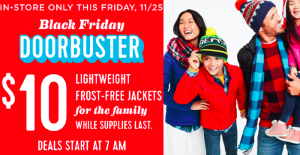 Old Navy Frost-Free Jackets $10 (Reg. $49.94) In-Store Only on Black Friday