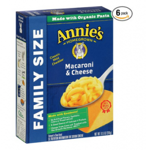 Annie's Family Size Macaroni and Cheese Pack of 6 $10.88