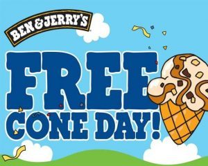 Ben and Jerrys FREE CONE DAY!!