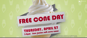 Free Ice Cream Cone at Carvel TODAY ONLY!