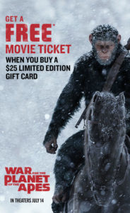 Buy a $25 Red Robin Gift Card & get a FREE 'War For The Planet Of The Apes' Movie Ticket