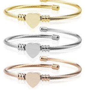 Triple 3 Pack Titanium Steel Cable Wire Cuff Twisted Bangle Bracelet $19.99 (Reg.$59.99)