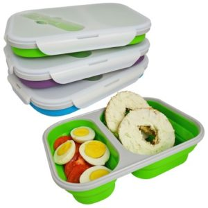 COLLAPSIBLE Double Compartment Silicone Lunch Box Food Container $14.96