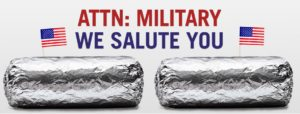 Chipotle Buy One & Get One FREE Entrees For Military Members on November 7th ONLY