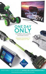 Sams Club Pre Holiday Sale ONE DAY ONLY Saturday November 11!!!