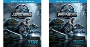 Jurassic World Blu-ray/DVD/Digital HD Combo & $7 Off Atom Movie Ticket Only $7.50
