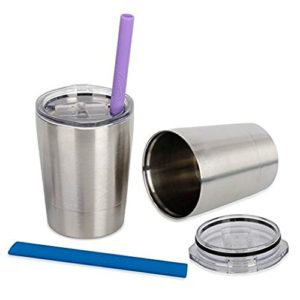 TWO Stainless Steel Kid-Sized Cups w/ Lids & Straws $11.89